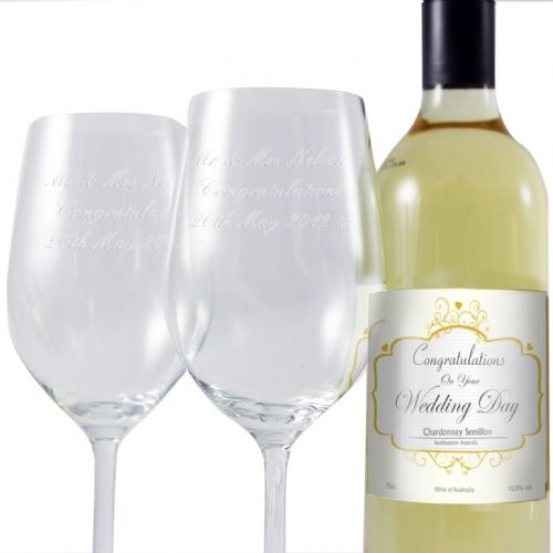 Personalised Wedding White Wine and Two Glasses